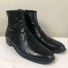 MENS ET WRIGHT BLACK LEATHER ZIP CHELSEA ANKLE BOOTS SIZE 11D USA