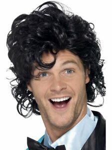 Mens Short Black Curly Hair Wig Prince Parody Wavy Jheri Curl Afro Adult Perm