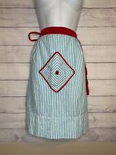 Vintage Half Apron front pocket waist apron Costume Blue White Red Retro CUTE!