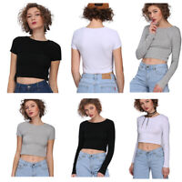 Womens Crop Basic Long/Short Sleeve T Shirt Ladies Short Plain Round Neck Top