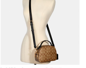 NWT Coach Mini Serena Crossbody Signature Coated Canvas Khaki/Black