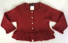 JEAN BOURGET Made In FRANCE Girls 3T 2T Butterfly Crimson Red Cardigan Sweater N