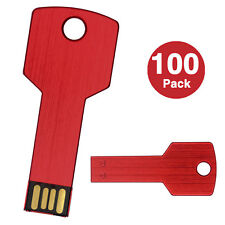 100PCS 1GB USB Flash Drives Metal Key Model Flash Memory Stick Thumb Drive Red