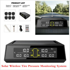 Car Tyre Pressure Monitoring System Solar Powered LCD TPMS External Sensors x 6