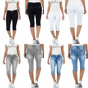 Malucas Damen 3/4 Capri Jeans Kurze Hose Caprihose Sommer Bermuda Shorts Stretch