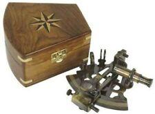 Edler Sextant im Antikdesign mit Holzbox- Messing anlaufgeschützt- kein polieren
