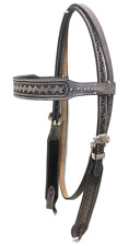 D.A. Brand Quick Change Embossed Headstall w/Silver Dots Horse Tack Equine
