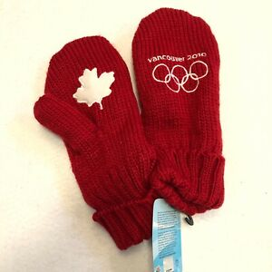 Olympic Vancouver 2010 Knitted Lined Maple Leaf Red Mittens Size L / XL