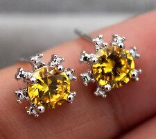18K White Gold Filled - 6mm Sunflower Citrine Topaz Zircon Gems Women Earrings