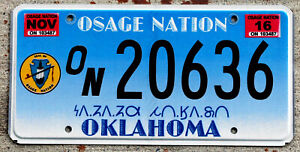 Nice Osage Nation Oklahoma License Plate with a 2016 Sticker