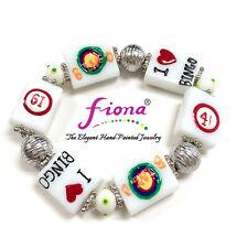 """I Love Bingo Glass Beaded Stretch Bracelet New with Gift Bag 7.5"""""""