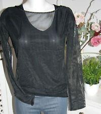 Nicowa Camicia Trasparente Manica Lunga Nero BLACK Size: 36 NUOVO