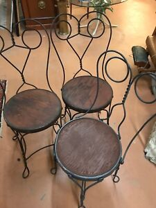 3X FRENCH BISTRO ~ ICE CREAM CHAIRS  (2 MATCHING) AUTHENTIC ~ EXCELLENT