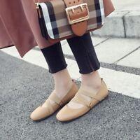 Women Flat Heel Ballet Shoes Ankle Strap Round Toe Boat Slip on Pumps Plus Size