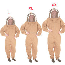L/XL/XXL Professional Cotton Full Body Beekeeping Bee Keeping Suit w/ Veil Hood