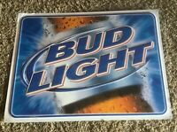 BUD Light Tin Beer Bar Sign Budweiser.  Very Nice!