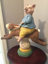 HAND CRAFTED PAINTED PAPER MACHE FOLK ART PIG RIDING RABBIT PEDIMENT SCULPTURE