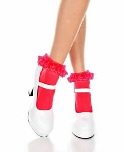 Opaque Ankle High Socks With Ruffled Lace - Music Legs 527