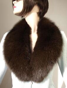 Scarf Fur Collar Blue Fox Fur Coat Jacket Fashion Ladies Men's Dark Braun