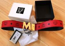 MCM Red/Black Reversible Belt Claus M Gold Buckle
