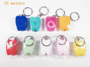 100Pcs Dental Oral Floss Key Chain Clean Germ's Spot Calculus Blockages Of Tooth