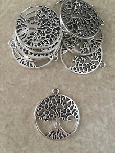 Antique Silver Tree of life charms / pendant x 10 - FREE SHIPPING