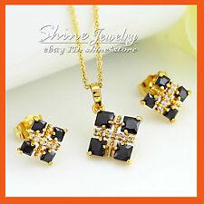 14K GOLD GF S69 BLACK ONYX SQUARE SIMULATED DIAMOND BRIDAL SOLID PENDANT EARRING