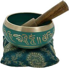 Meditation Singing Bowl Buddhist Art Green Tibetan Décor 4 Inch