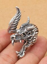 Solid 925 Sterling Silver men Domineering Dragon Wrap open Adjustable Ring