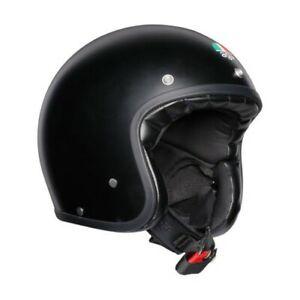 AGV X70 Open Face Retro Vintage Motorcycle Motorbike Helmet - Matt Black