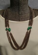 Egyptian revival Asian 53 inch long Vintage extra long faux jade Necklace
