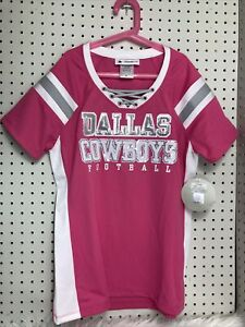 New Dallas Cowboys SZ M Pink SEQUINED CROSS LACE UP NFL JERSEY Cute Medium Size