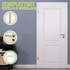 HORI Zimmertür Komplettset Estella 2 Weißlack Tür mit Zarge Türgriff Innentür