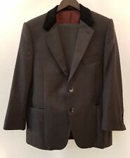 Mod Style Grey Suit with Black Velvet Collar Shoulder Pads Size Small 34 S
