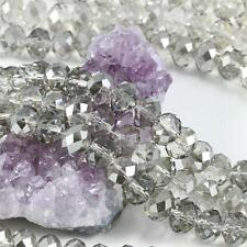 36 pcs 12mm Chinese Crystal Glass Beads Faceted Rondelle Smoky Qtz with Clear AB