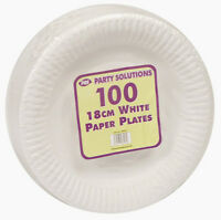 "WHITE PAPER PLATES 18cm, 23cm and 26cm 7"" 9"""