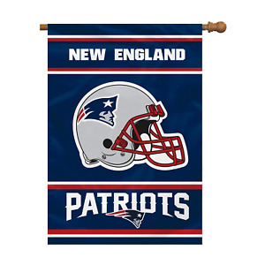 """New England Patriots Double Sided 28"""" x 40"""" Official NFL Banner Vertical Flag"""