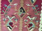 """Vintage Kilim Tribal Bird and Fish Hand Woven Rug 6'7"""" x 9'6"""""""