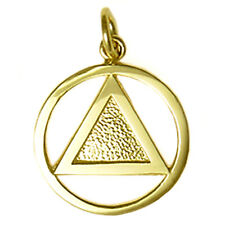 AA Alcoholics Anonymous Clean Vintage Style Pendant, #09-1 Med. Size, 14k Gold