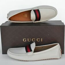 GUCCI New sz 34 G - 4.5 Authentic Designer Web Womens Drivers Flats Shoes