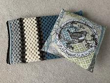 Afghan throw hand crochet BLANKET Modern Blue & Browns & PILLOW bird on branch
