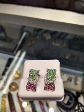 Earrings Ribbon[Emerald,Ruby] through a Diamonds of Heart 14k Jewellry White Gol