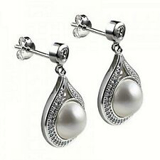 Solid 925 Sterling Silver Mabe Pearl Teardrop Stud Ladies Earrings With Zirconia