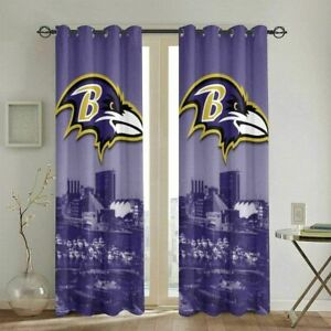 Baltimore Ravens Football Window Curtains 2 Panels Bedroom Curtain Drapes