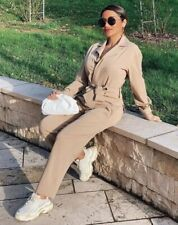 Zara Camel Belted Jumpsuit. Size M