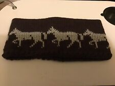 Knitted  Head Band, / Ear Warmer, Adults, Brown  , With  Grey HORSES,