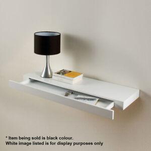 Floating Drawer Shelf Concealed Storage BLACK Gloss Bookshelf 90cm x 25cm x 10cm