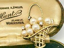 Vintage Sterling Silver, Claw-Set Crystal & Pearl Flower Basket Brooch- High End