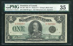 DC-25f 1923 $1 DOMINION OF CANADA BANKNOTE BLACK SEAL PMG CHOICE VERY FINE-35