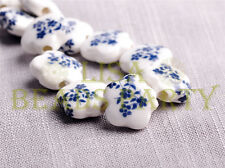 New 10pcs 15mm Flower Porcelain Ceramic Loose Spacer Beads Findings Black Blue